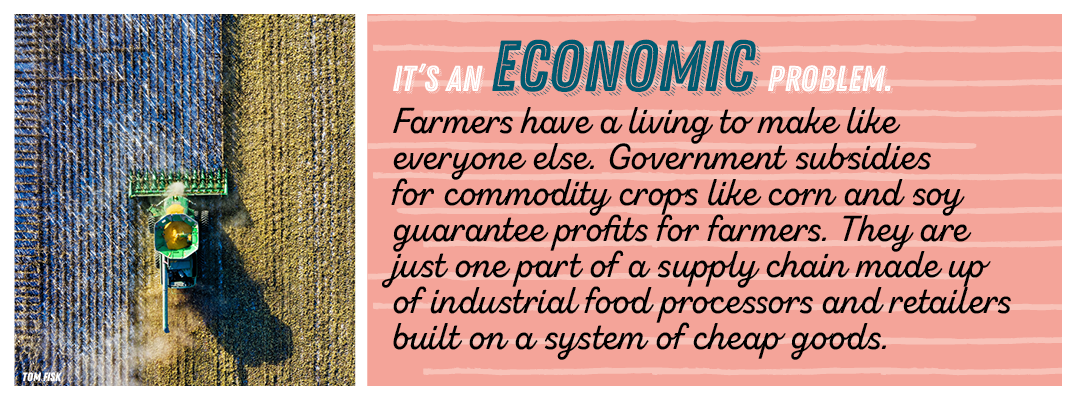 it's an economic problem.  Farmers have a living to make like everyone else. Government subsidies for commodity crops like corn and soy guarantee profits for farmers. They are just one part of a supply chain made up of industrial food processors and retailers built on a system of cheap goods.
