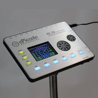 An electronic drum module with positional sensing capabilities