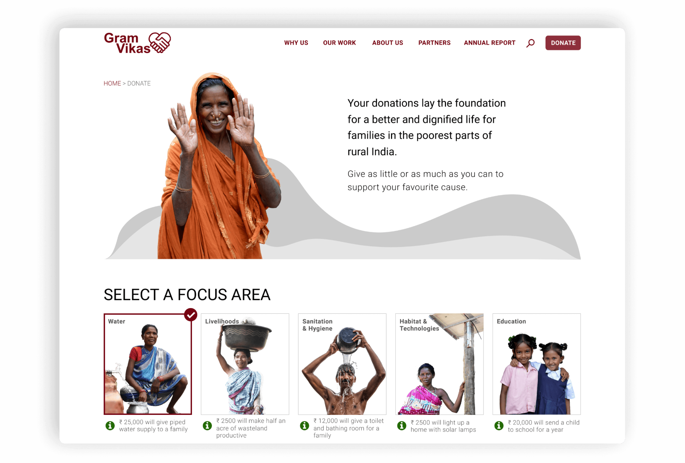 The key takeaway from the website is how the work by Gram Vikas has enabled rural families to live with dignity.