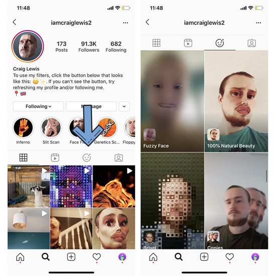 find Instagram effects by following IG creators