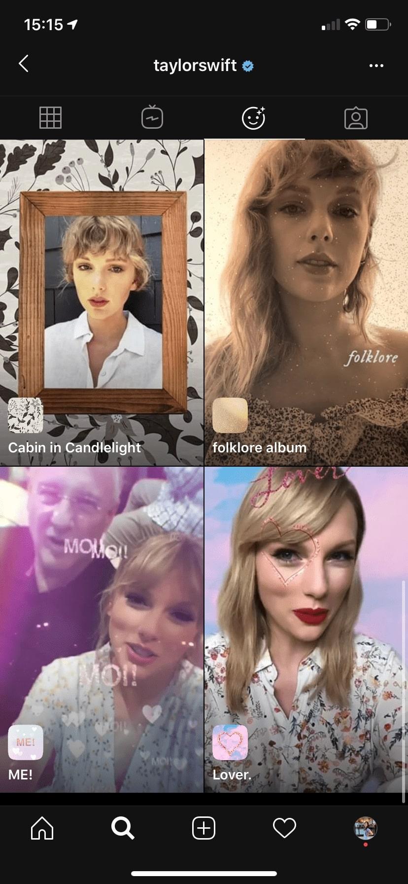 Taylor Swift Instagram effects