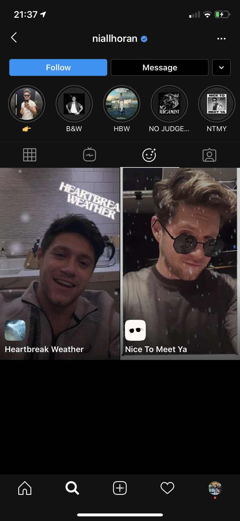 Niall Horan Instagram effects