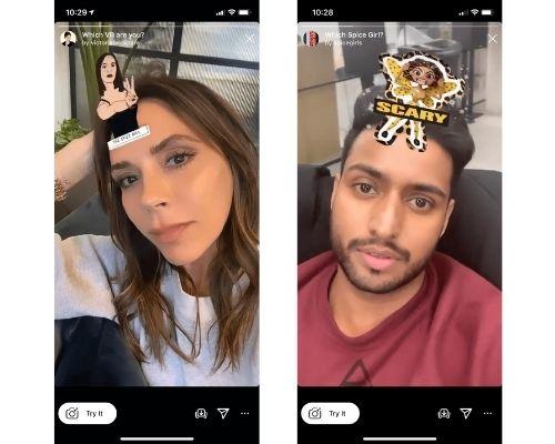 Victoria Bekham and Spice Girls Instagram effects