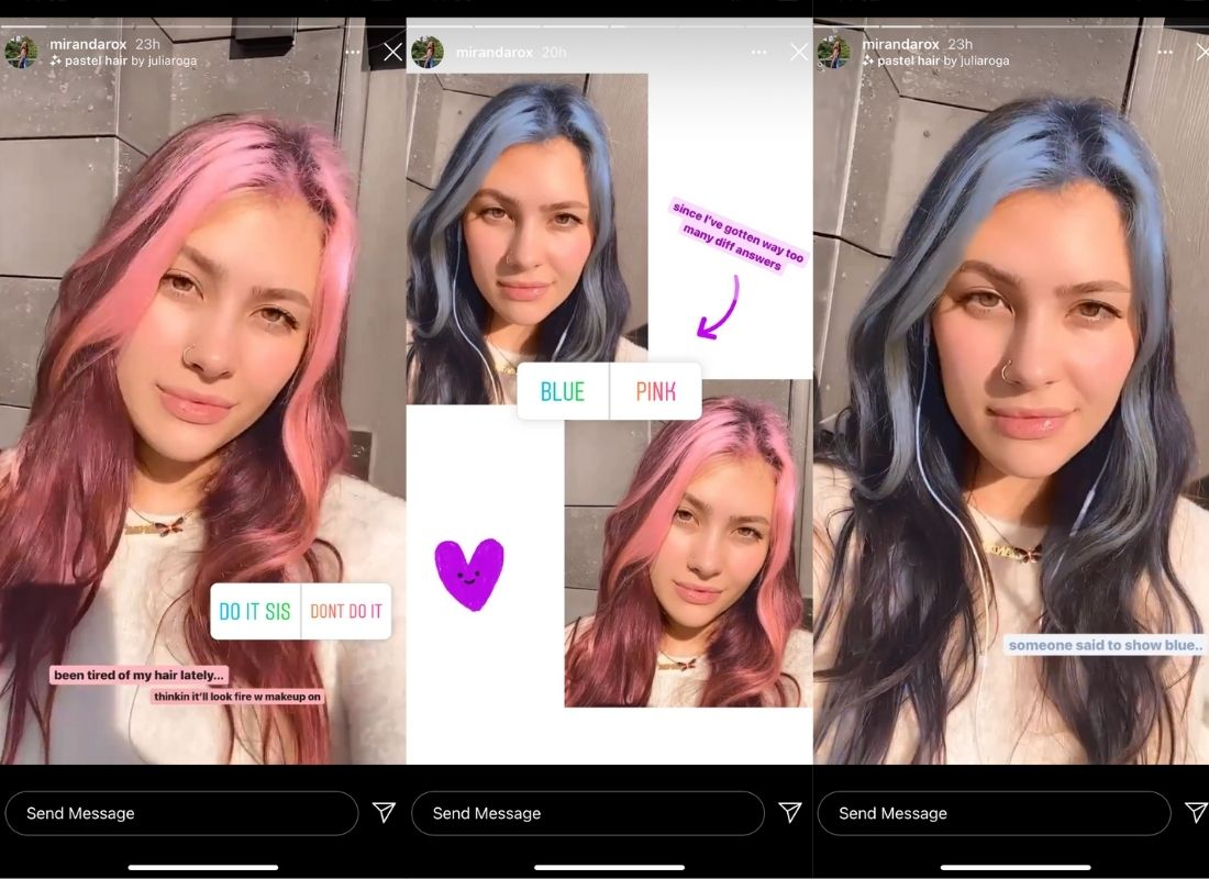 influencers using Instagram hair color filters