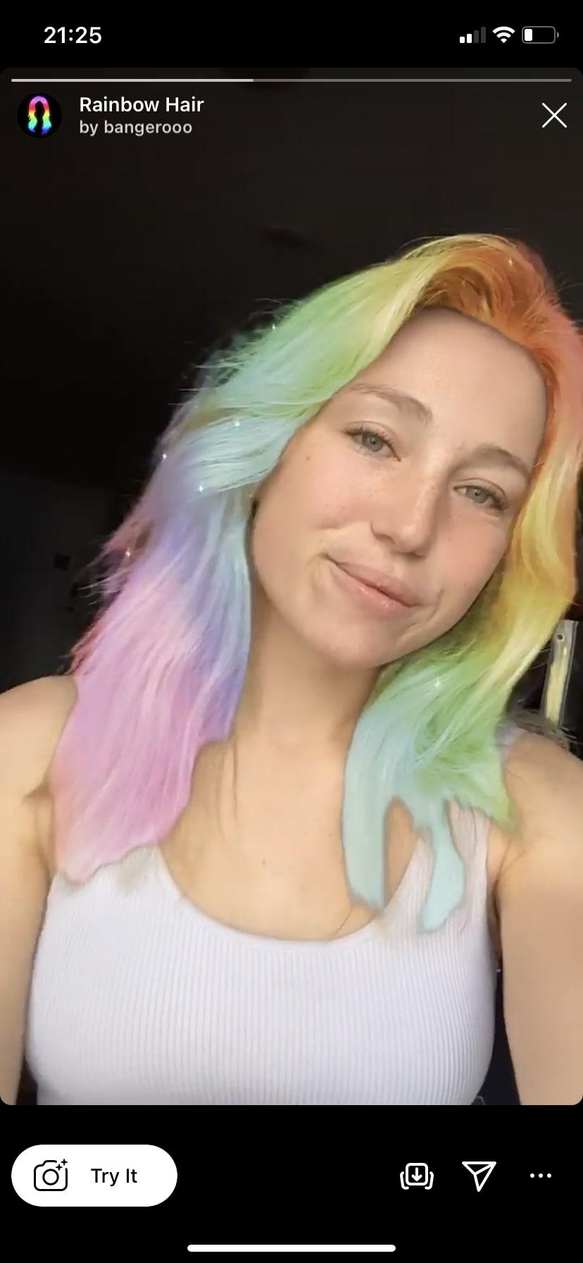 Rainbow Hair by @bangerooo hair color Instagram face filter