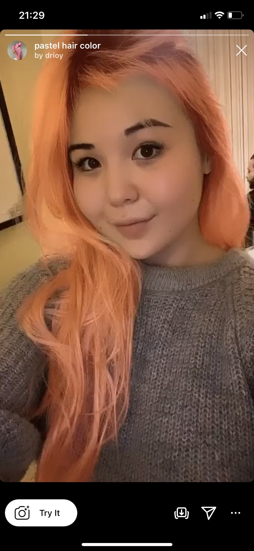 pastel hair color by @drioy Instagram filter