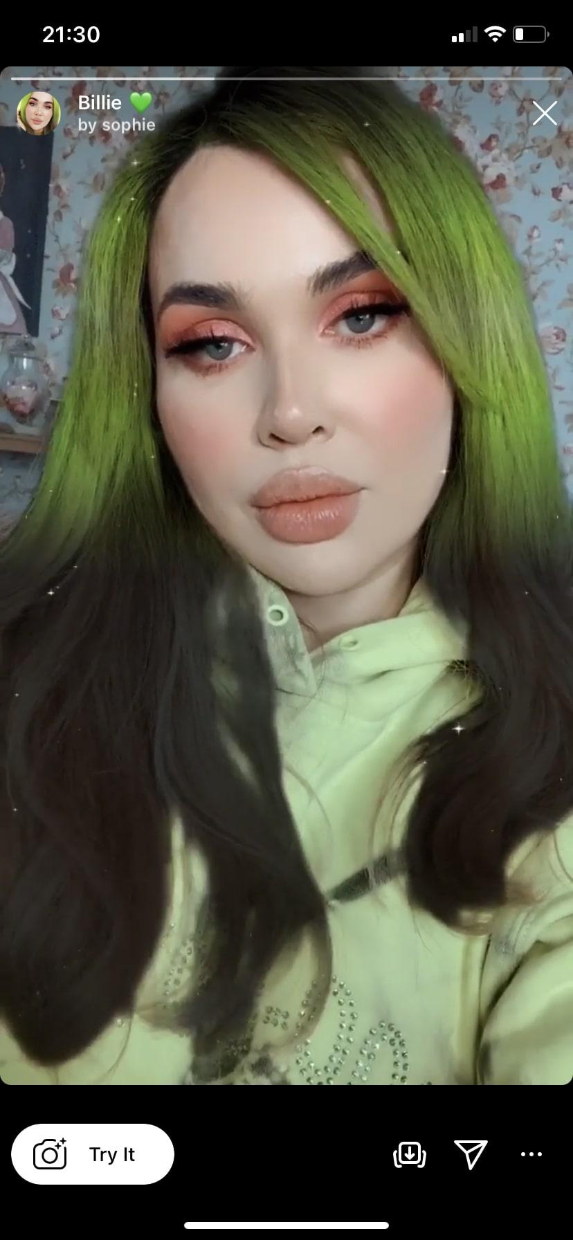 Billie 💚 by @sophie Instagram hair color filter