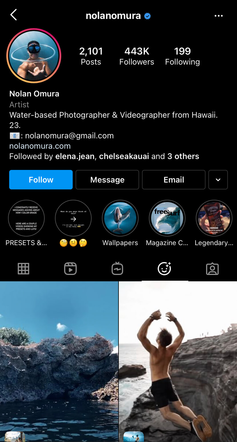 nolanomura Instagram profile custom camera effects