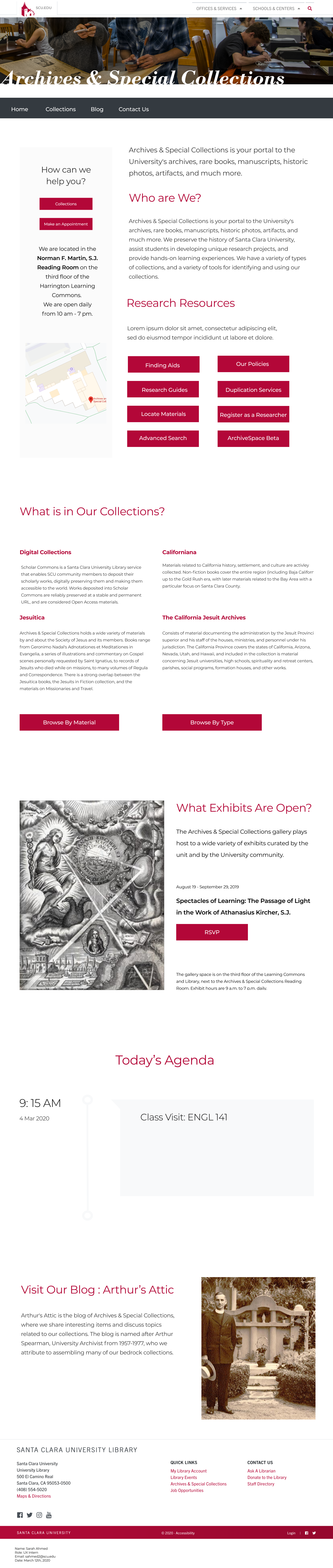 Redesign of the Santa Clara University Archives and Special Collections website.