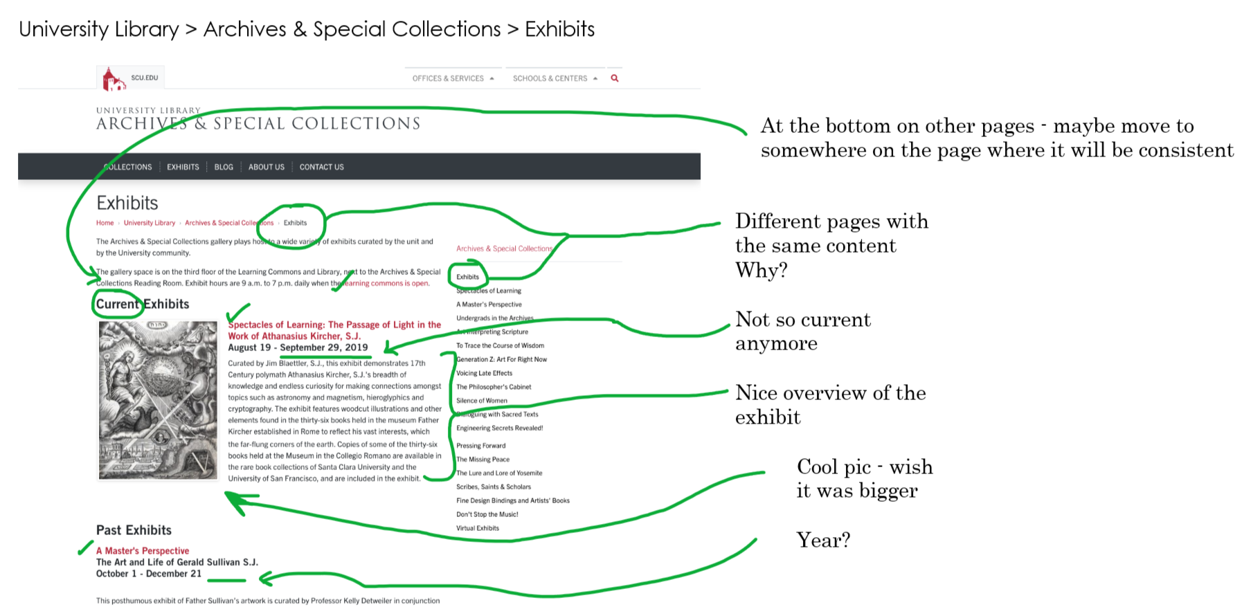 Annotated Exhibits home page