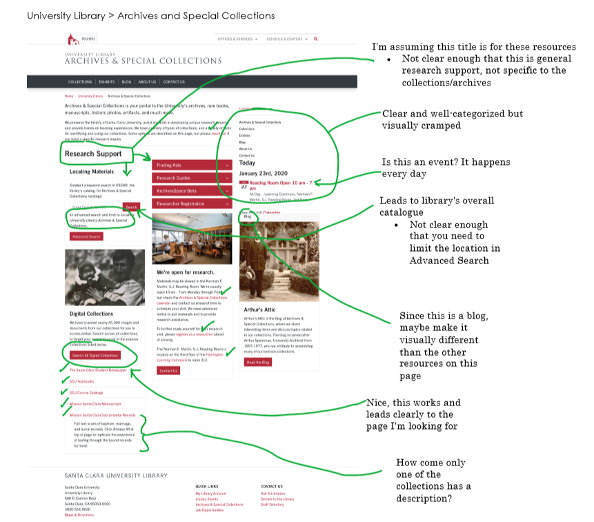 Annotated Archives and Special Collections home page