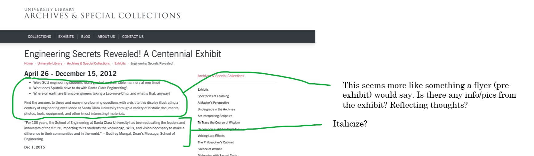 Annotated Exhibit page. The exhibit is called Engineering Secrets Revealed! A Centennial Exhibit