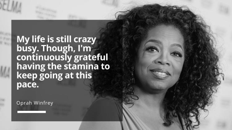 Oprah Winfrey grateful for having the stamina to keep going
