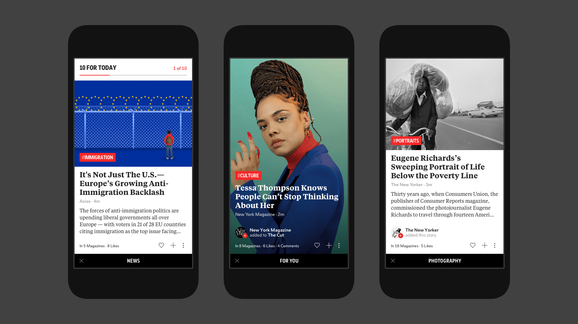Refreshed article layouts based on the Flipboard Universal Design System.