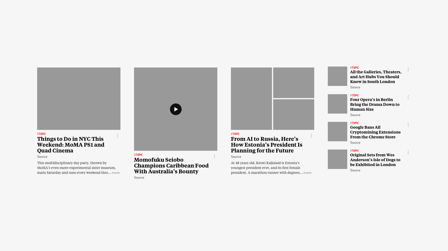 Various article layout components.