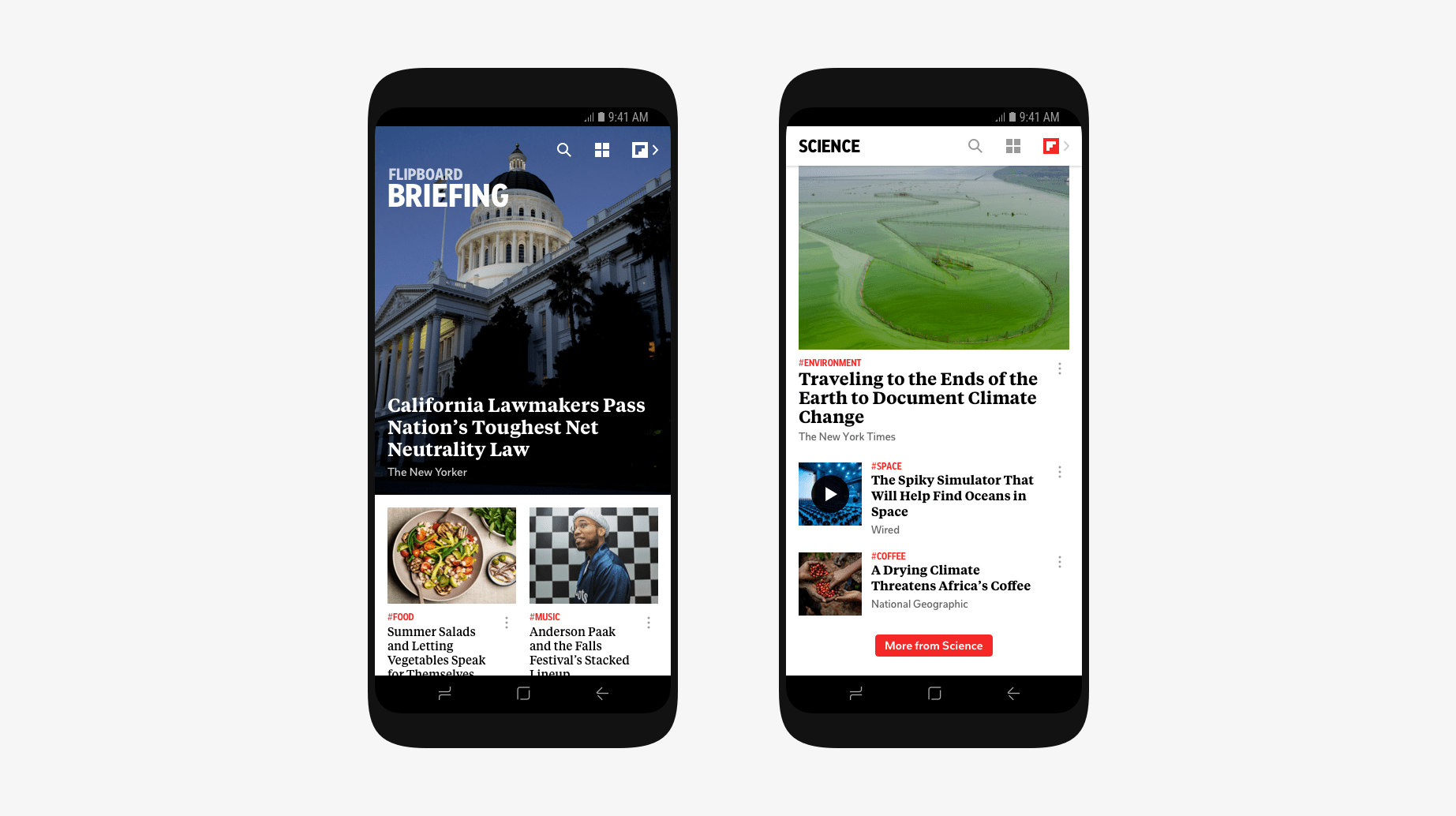 Overview of the new Flipboard  Briefing experience.