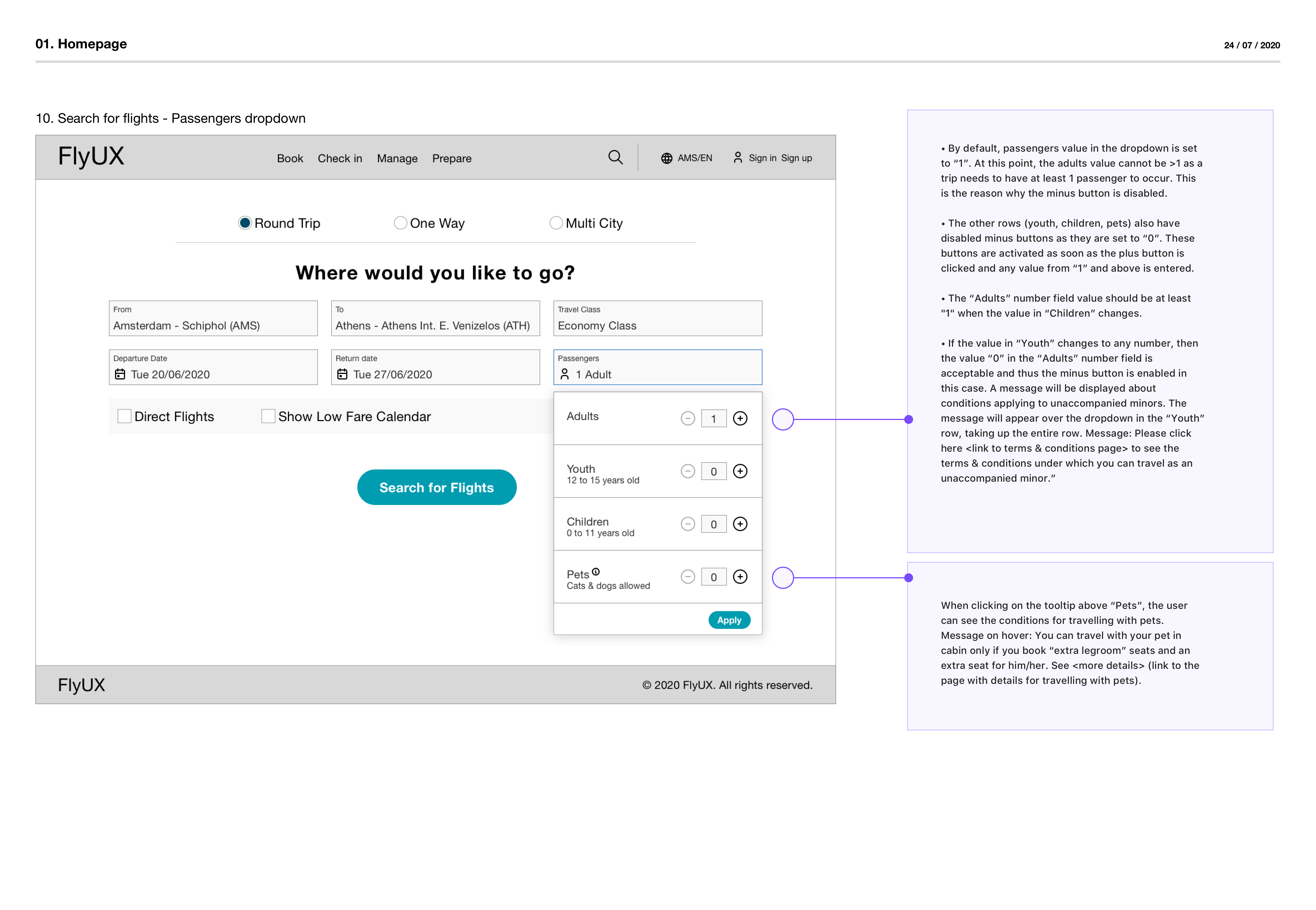 """Wireframe with annotations about the """"Search for flights"""" screen"""