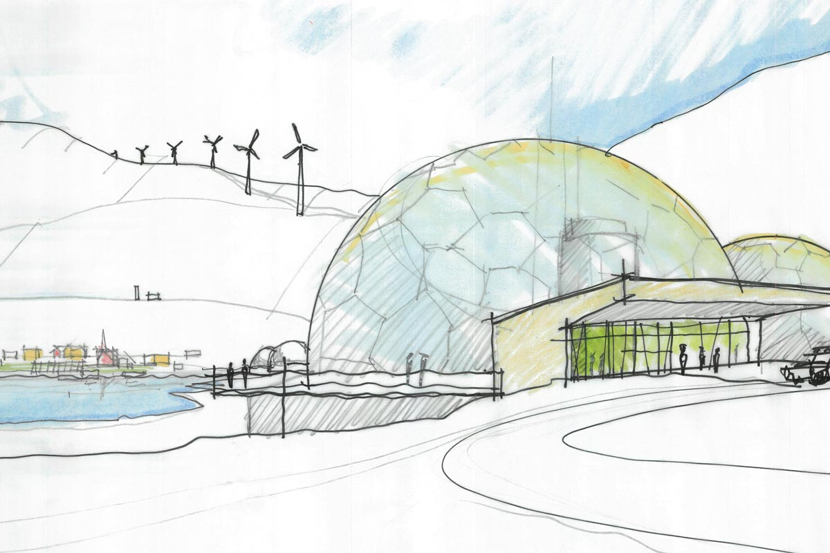 Sketch of arctic village showing nuclear power plant and wind turbines in the background.