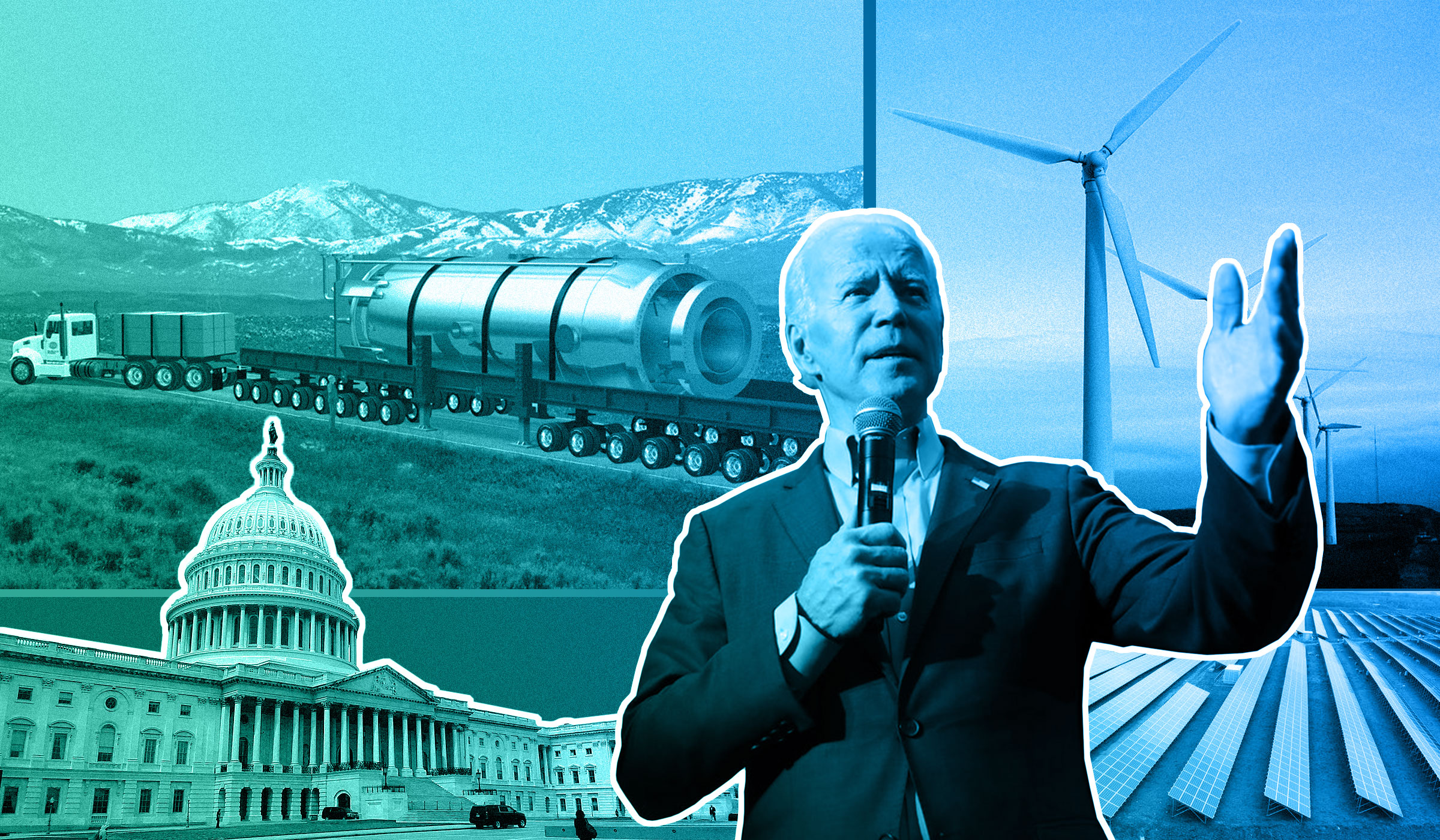Collage of Joe Biden and the U.S. Capitol Building foregrounded against a solar farm, wind farm, and small modular reactor.