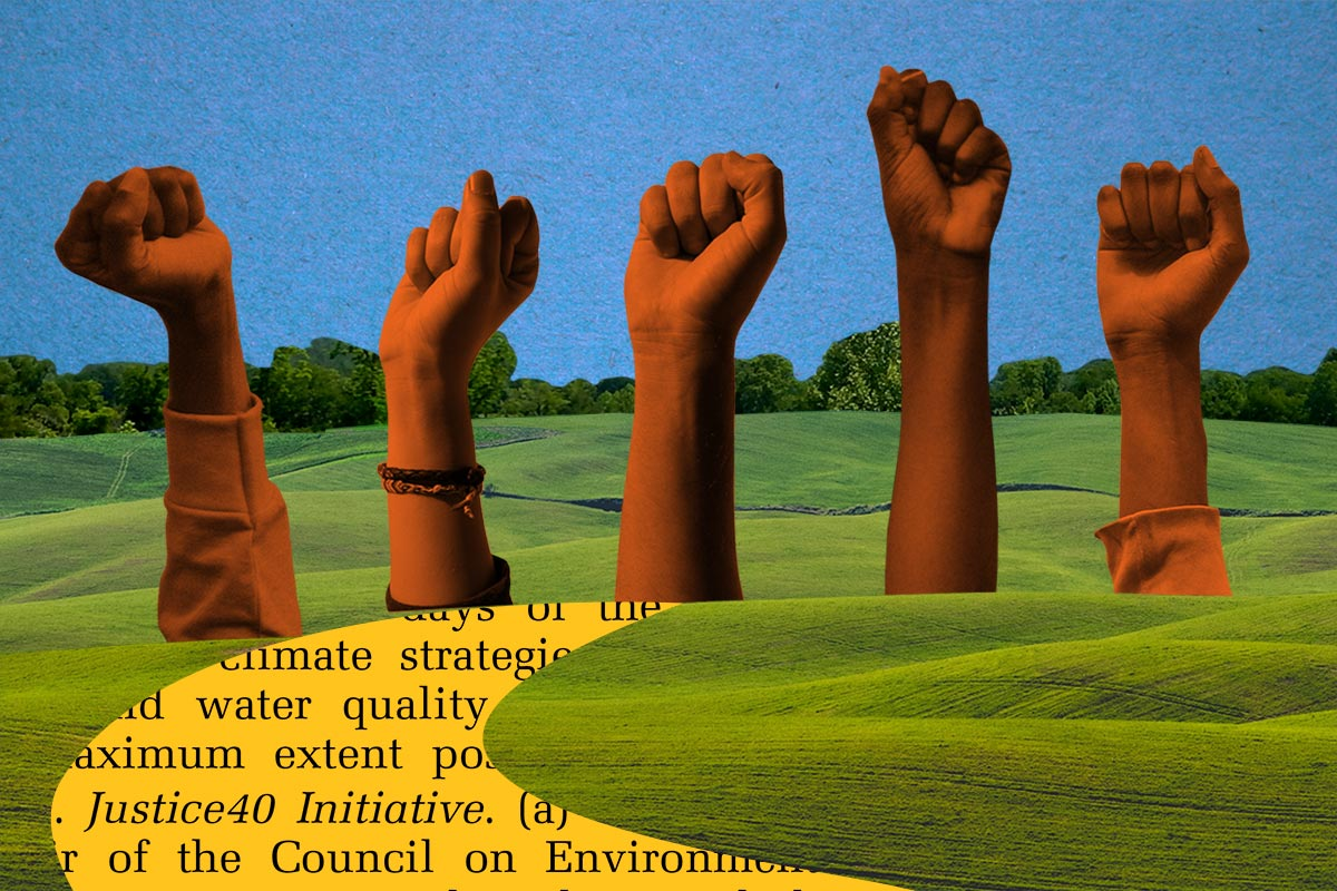 "Grassy valley scene with a winding path that reads ""Justice40 Initiative"" leading to a group of outstretched arms in fists."