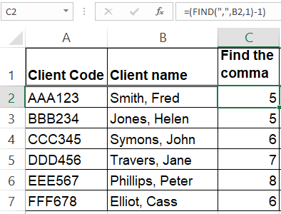 Image 3 Excel - Finding the comma