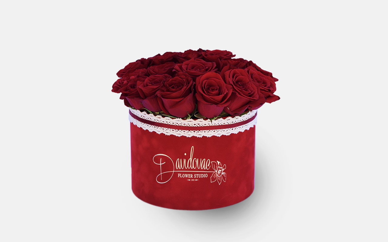 Flower box - Crvene ruže - 21 kom.