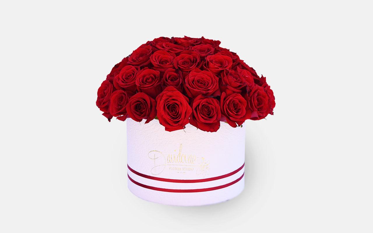 Flower box - Crvene ruže - 51 kom.