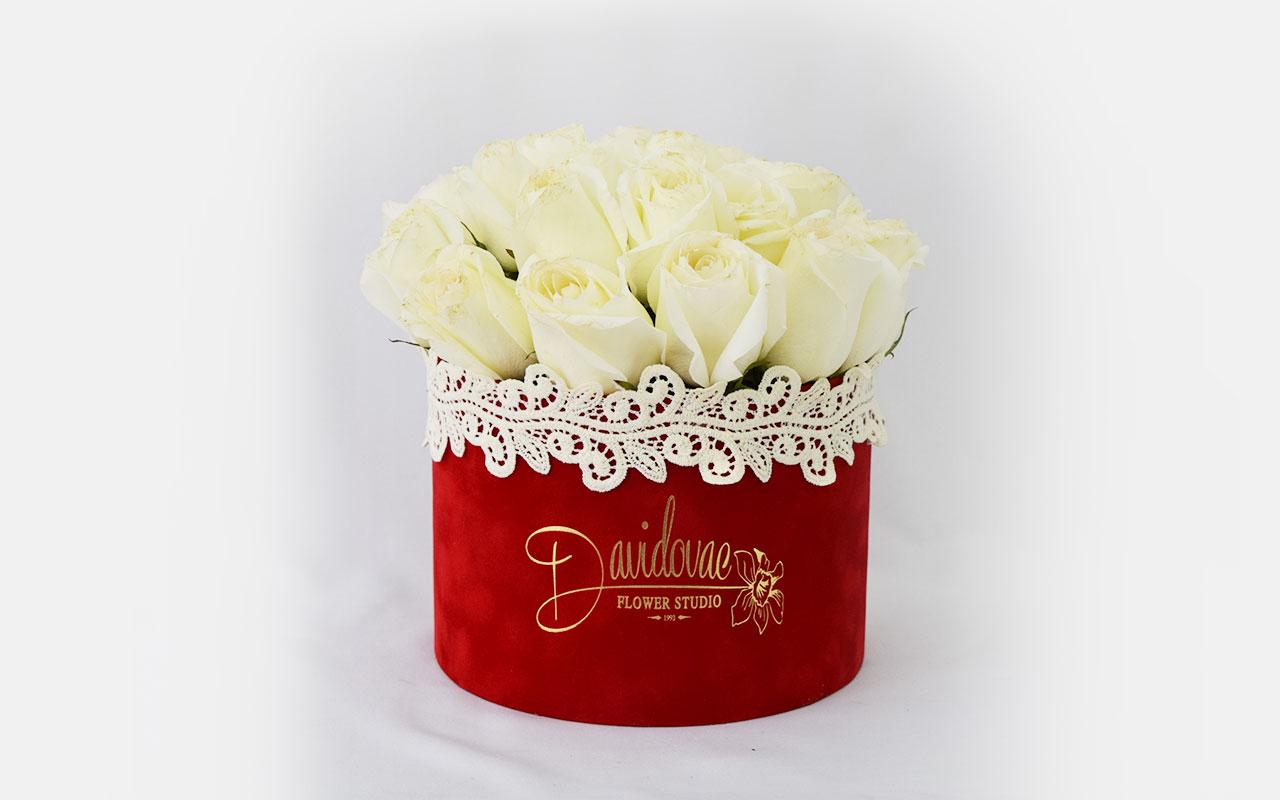 Flower box - Bele ruže - 21 kom.