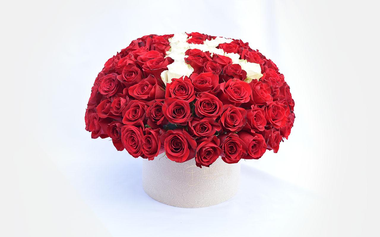 Flower box - Crvene ruže - 101 kom.
