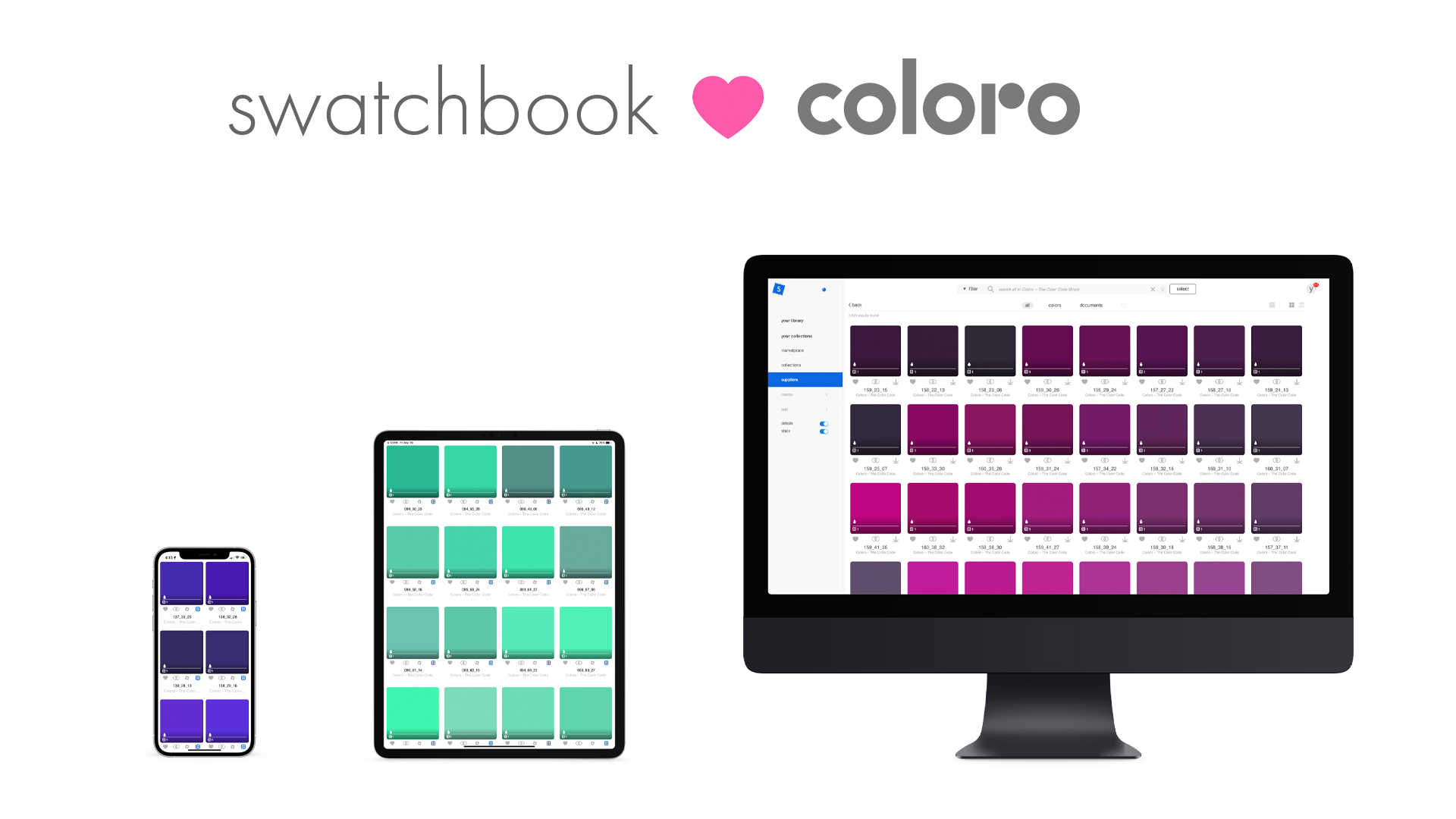coloro colors insides swatchbook