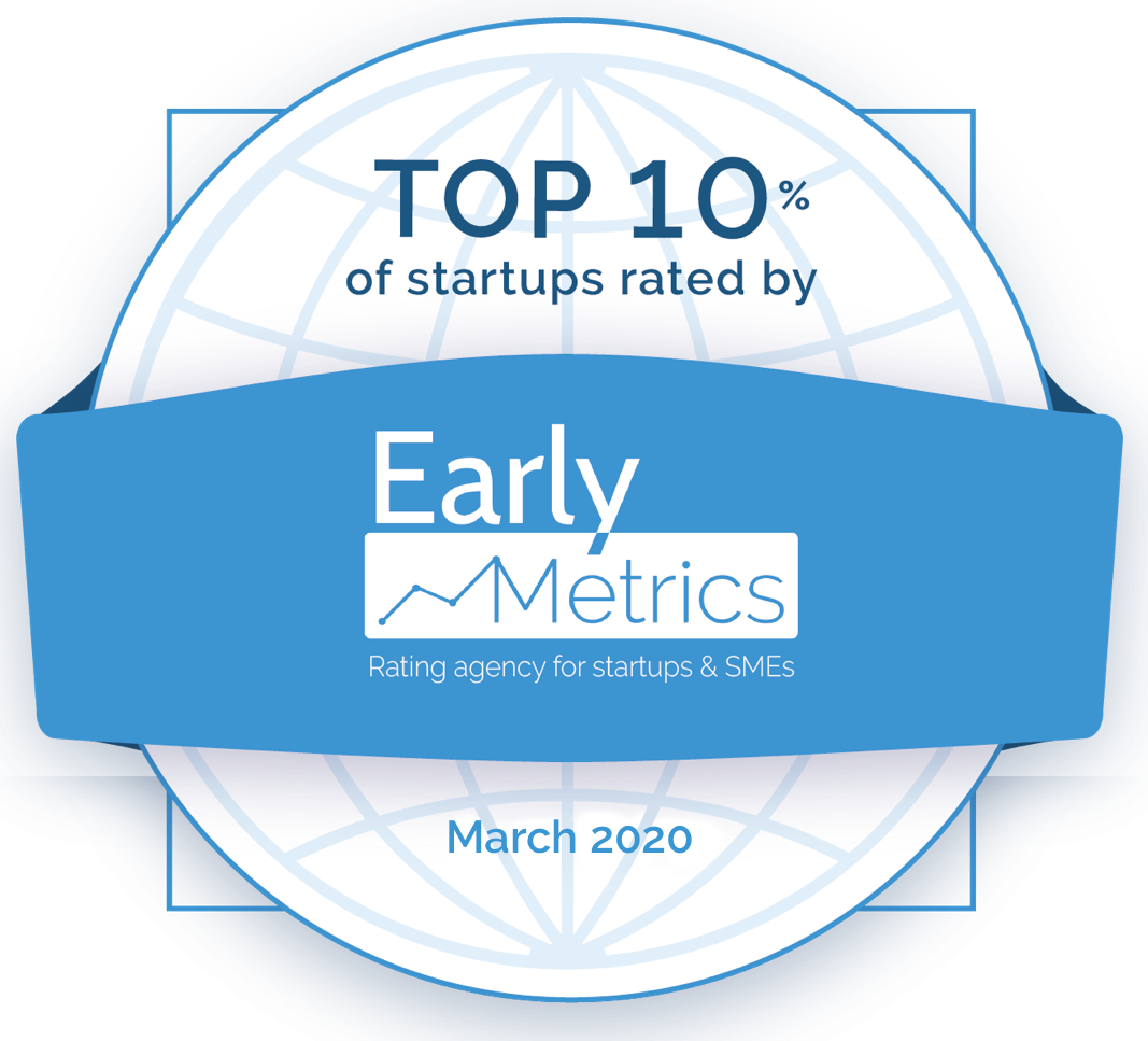 logo top 10 percent of startups rated by early metrics myos