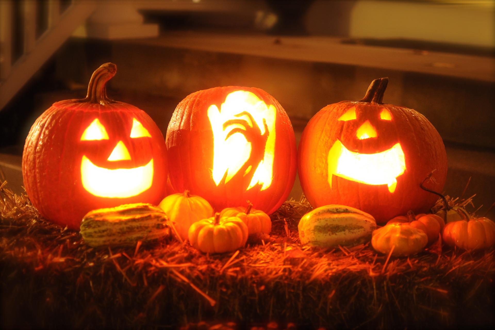 Halloween Dekoration aus kleinen Kürbissen und drei geschnitzten beleuchteten Kürbissen auf einem Heuballen.