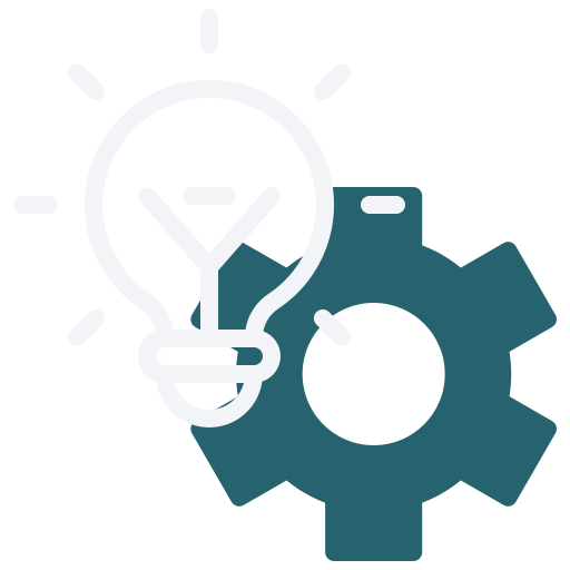 Light bulb and sprocket icon illustrating software building