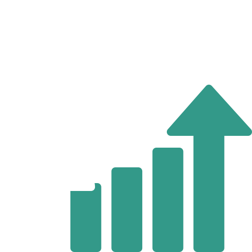 Growing plant with dollar sign with increasing graph illustrating investment