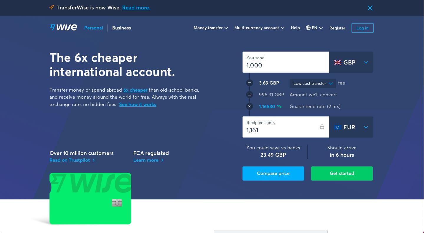Wise's homepage calculator
