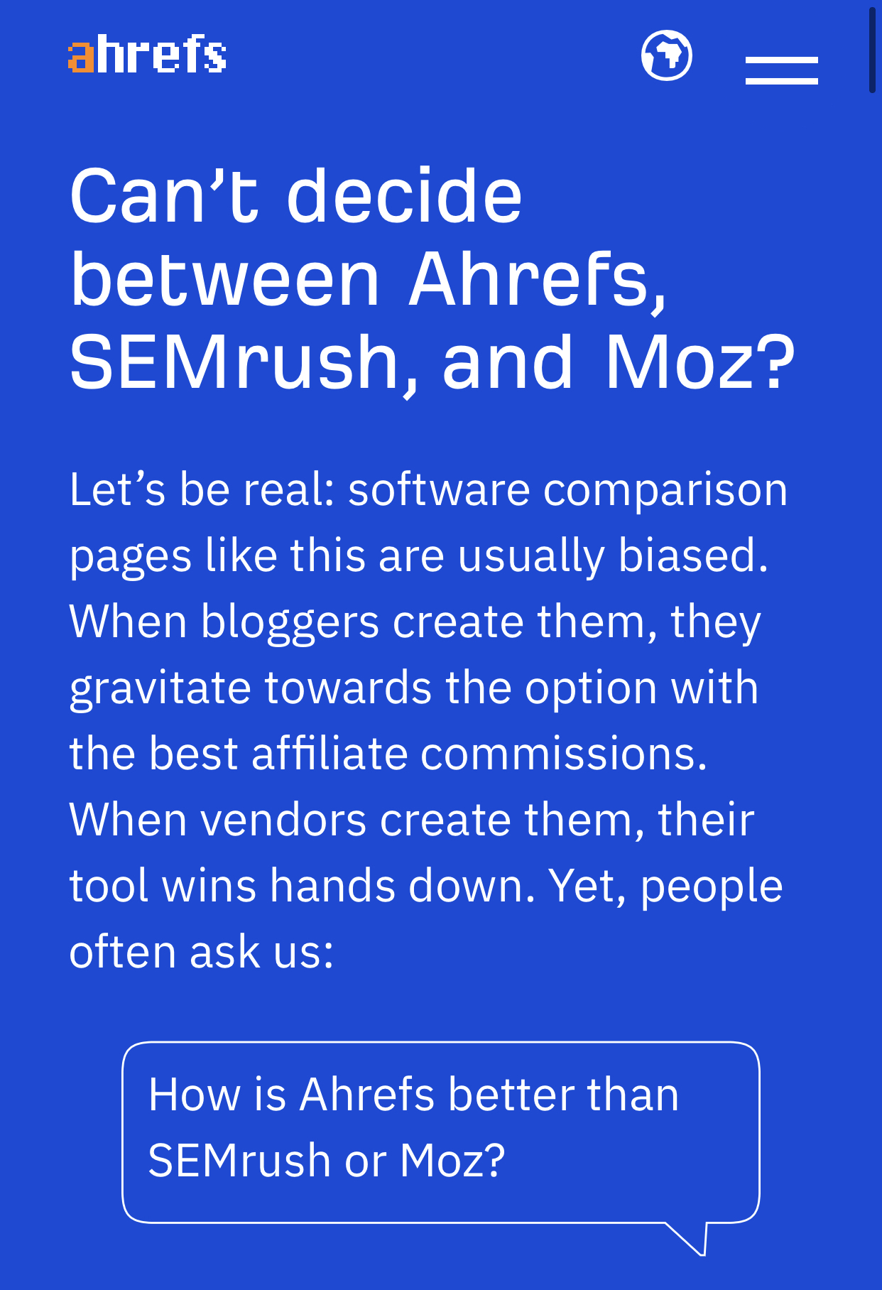 Ahrefs genius competitor page