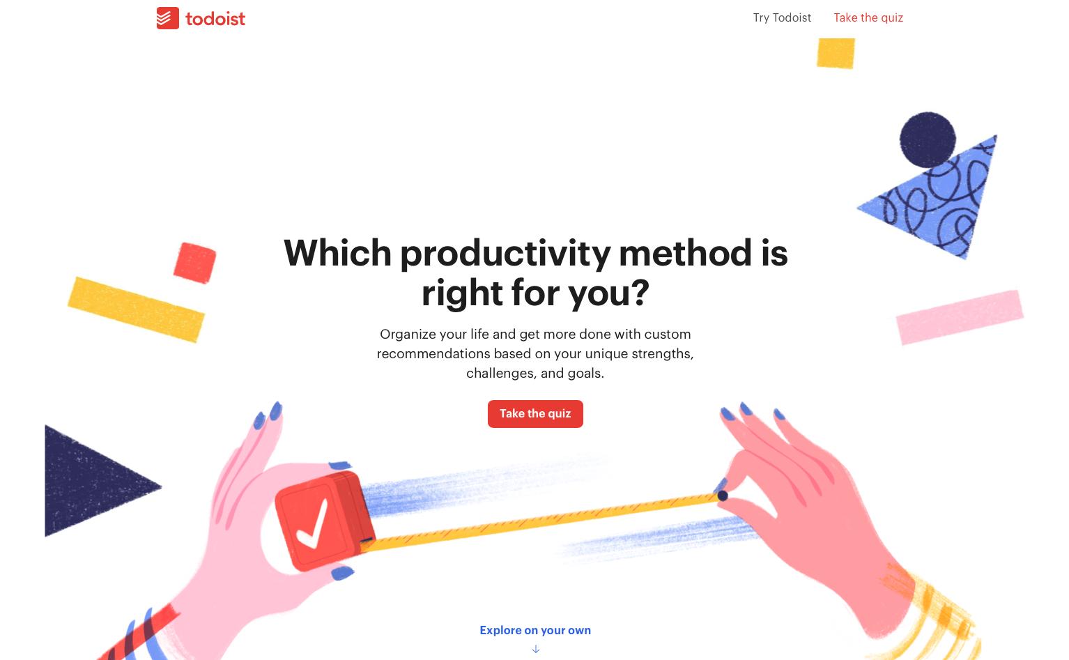 Todoist's Productivity Methods quiz