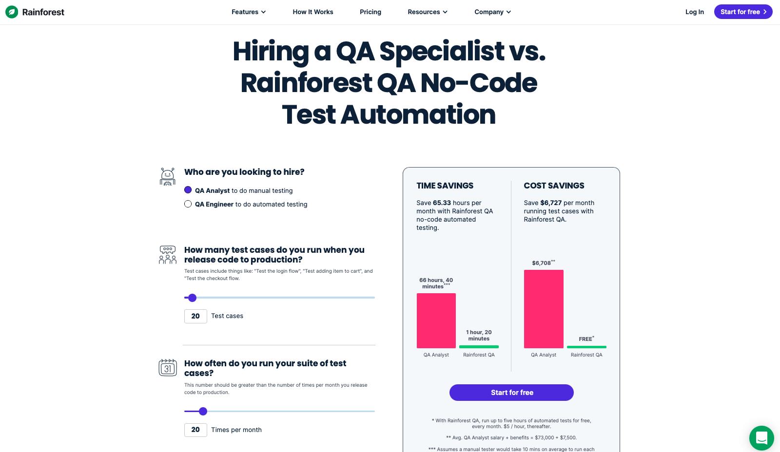 Rainforest QA's savings calculator