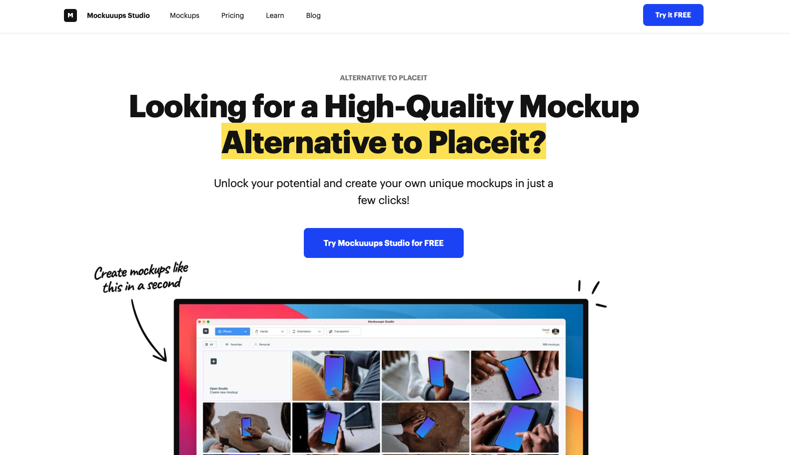 Mockuuups studio's perfect alternative page