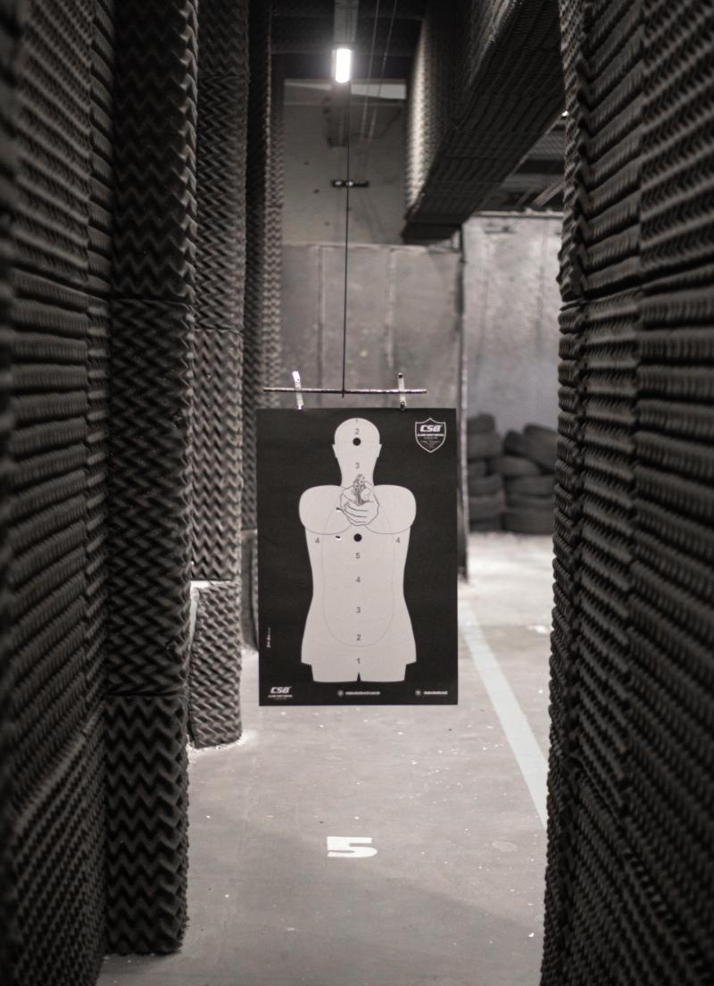 a target inside of a shooting range
