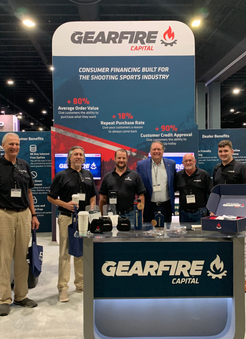 Image of Gearfire Capital booth at the NSSF Range Retail Expo 2021 featuring MK Decision team, Tom Bergal, Chad Seaverns, JW Shultz, and Mike Medley.