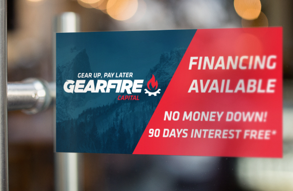 Gearfire capital, consumer financing, buy now pay later window cling.