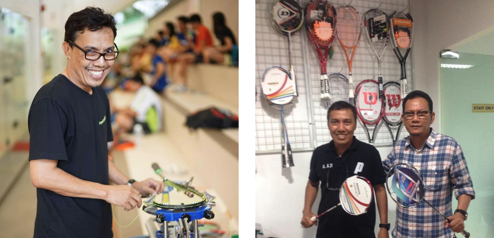 Left: Adi restringing a squash racket at the NUScompetitionRight:Friends & fans visiting the store