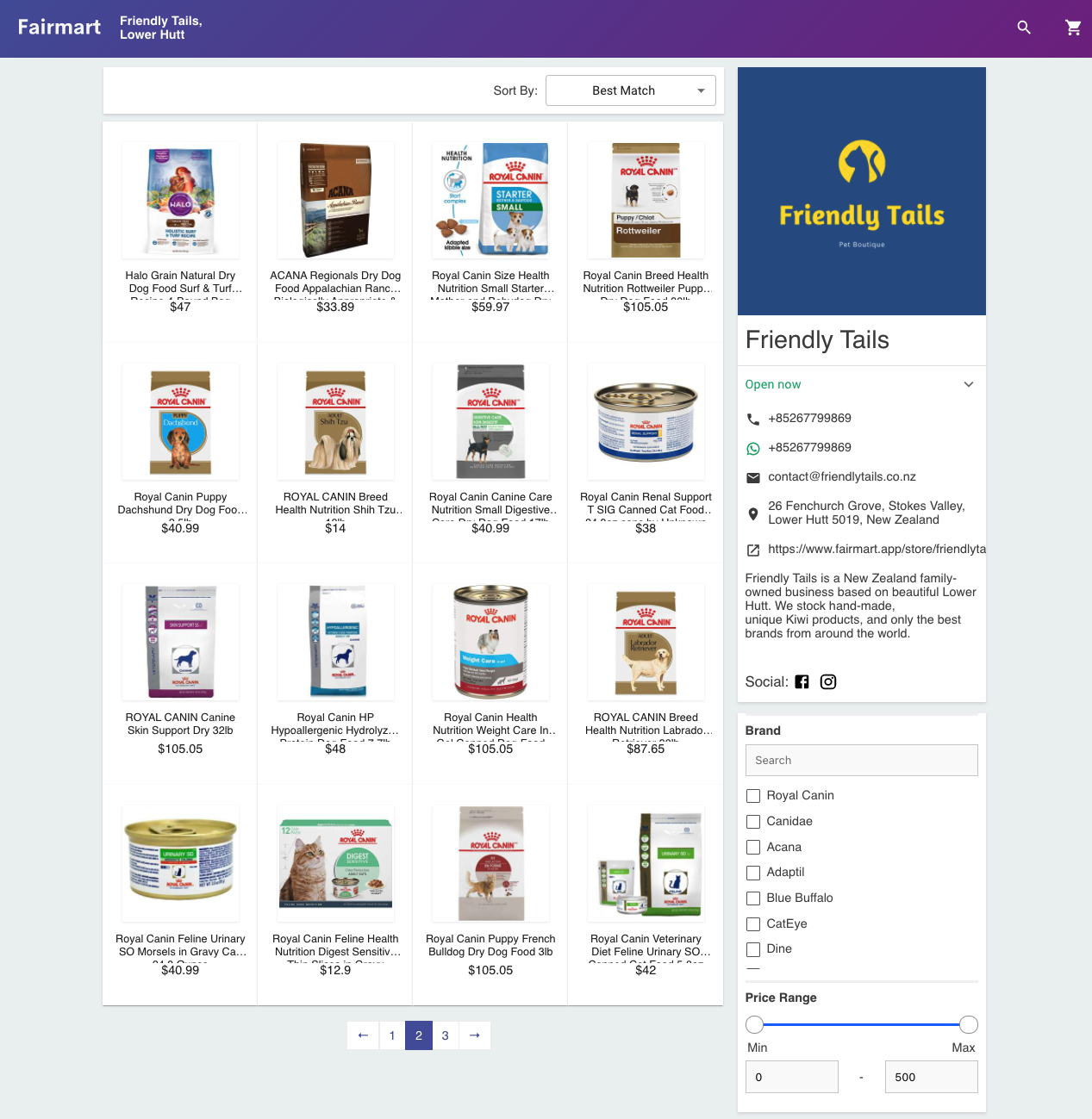 Fairmart Store Page