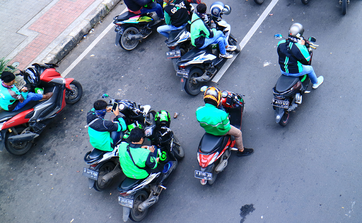 many riding scooters