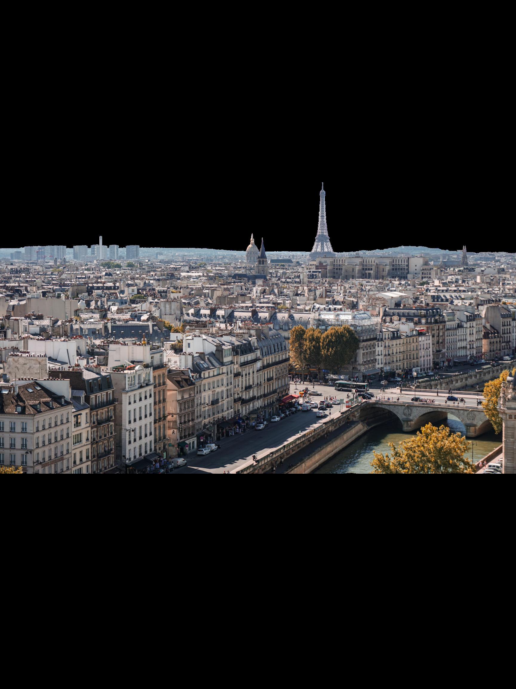 La ville de Paris vue du ciel en automne avec la Tour Eiffel à l'horizon