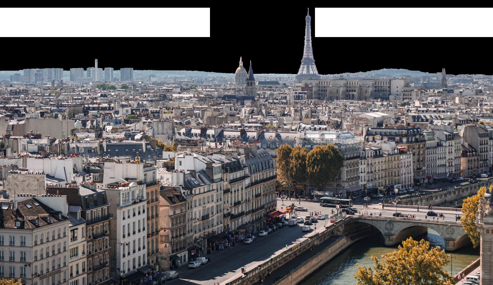 La ville de Paris vue du ciel avec la Tour Eiffel à l'horizon