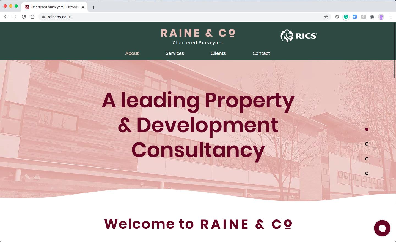 Raine & Co Website Homepage Screenshot