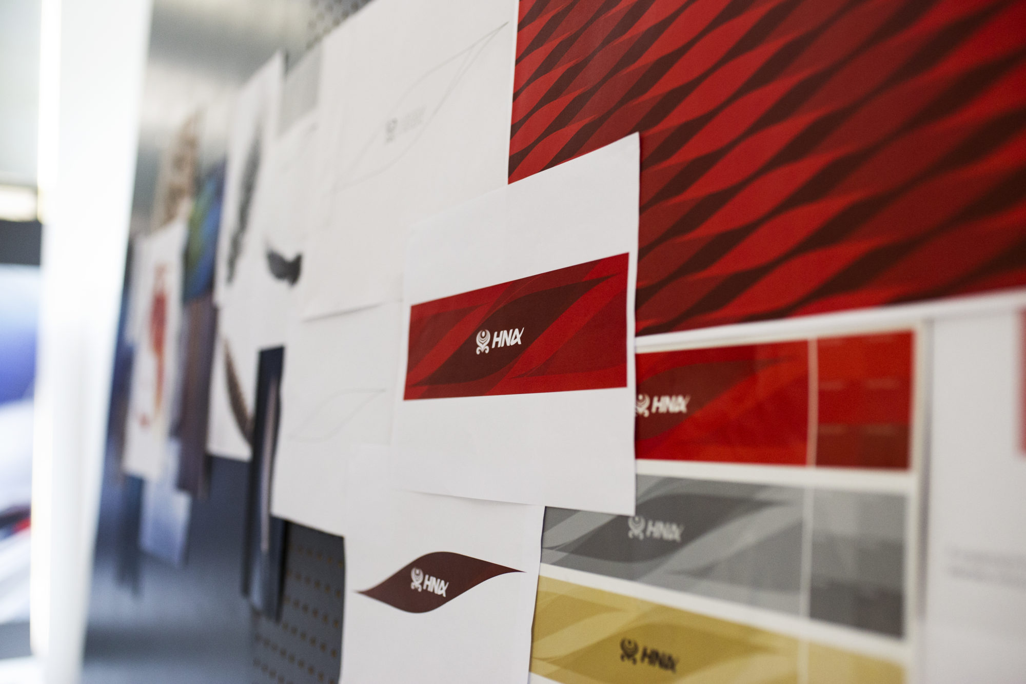 Wall of HNA branding