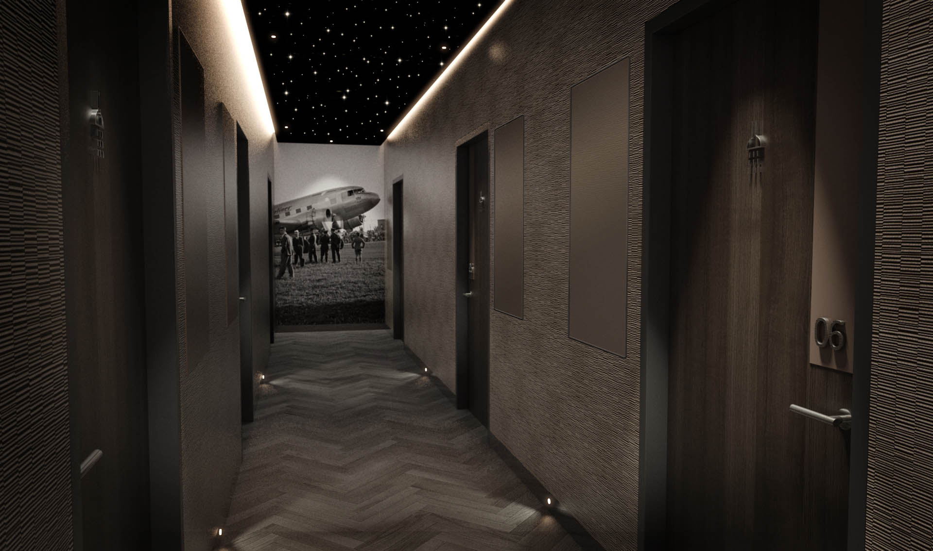 United Airlines Polaris Shower Rooms Corridor with ambient wash lighting from ceiling raft
